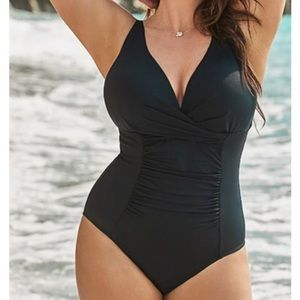 NWT Swimsuits for All black one piece swimsuit